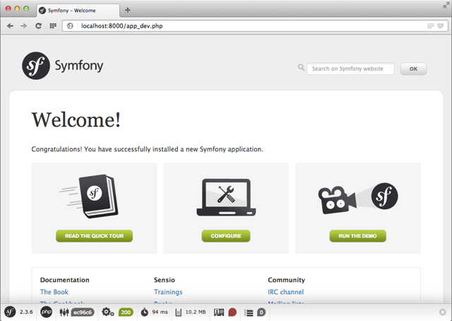 Start site of a newly installed symfony